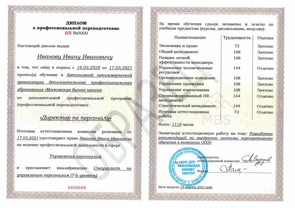 Диплом установленного образца РФ о профессиональной переподготовке